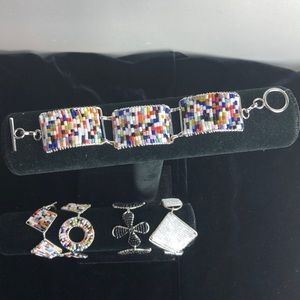 Hand made multicolored bugle bead toggle bracelet